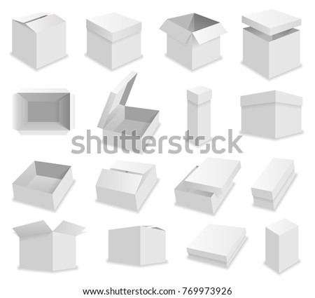 blank packing box on white background. Realistic opened box. #769973926