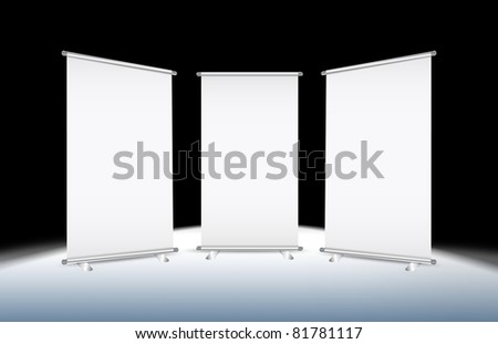 3 Blank roll-up banner against a black background with paths