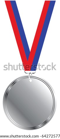 Blank silver medal on white background