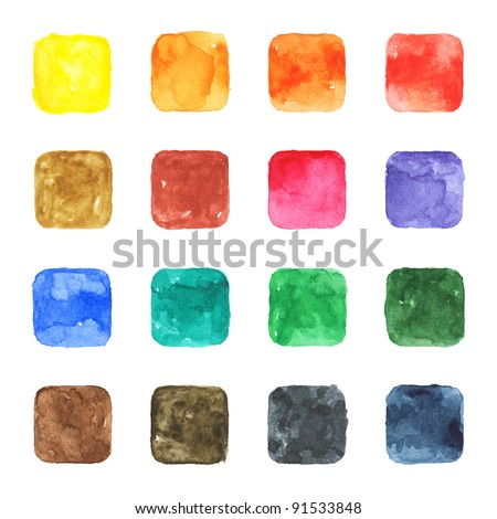 16 blank watercolor colored rounded square shapes web buttons on white background