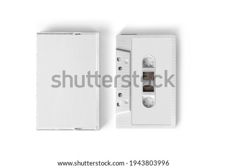 Blank white label and case of Cassette Tape on isolated background Сток-фото ©