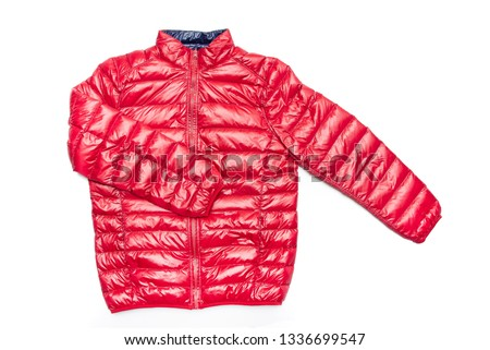 ฺBlue and red full zipper windbreaker down jacket, rain proof down jacket. Down jacket sport shiny nylon full zip isolated on white.  #1336699547