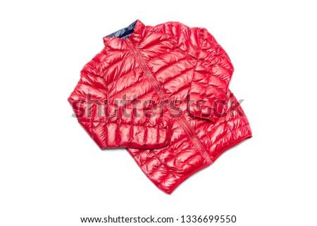 ฺBlue and red full zipper windbreaker down jacket, rain proof down jacket. Down jacket sport shiny nylon full zip isolated on white.  #1336699550