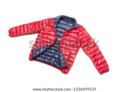 ฺBlue and red full zipper windbreaker down jacket, rain proof down jacket. Down jacket sport shiny nylon full zip isolated on white.  #1336699559
