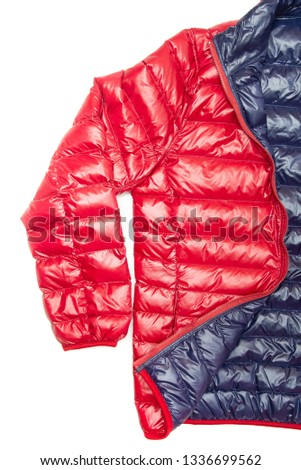 ฺBlue and red full zipper windbreaker down jacket, rain proof down jacket. Down jacket sport shiny nylon full zip isolated on white.  #1336699562