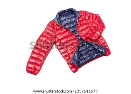 ฺBlue and red full zipper windbreaker down jacket, rain proof down jacket. Down jacket sport shiny nylon full zip isolated on white. #1337611679