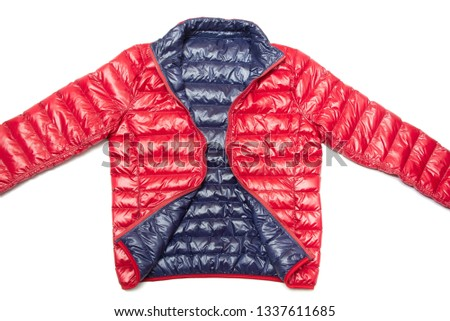 ฺBlue and red full zipper windbreaker down jacket, rain proof down jacket. Down jacket sport shiny nylon full zip isolated on white. #1337611685