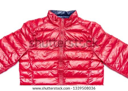 ฺBlue and red full zipper windbreaker down jacket, rain proof down jacket. Down jacket sport shiny nylon full zip isolated on white. #1339508036