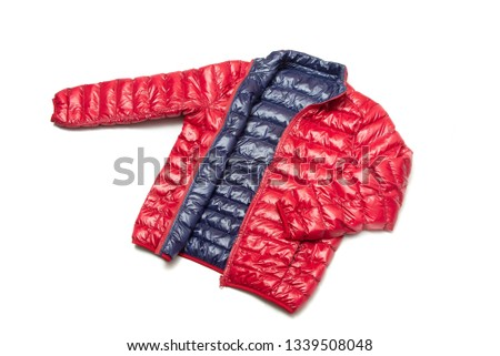 ฺBlue and red full zipper windbreaker down jacket, rain proof down jacket. Down jacket sport shiny nylon full zip isolated on white. #1339508048