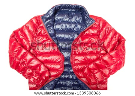 ฺBlue and red full zipper windbreaker down jacket, rain proof down jacket. Down jacket sport shiny nylon full zip isolated on white. #1339508066