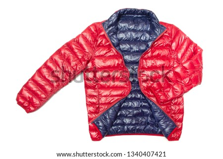 ฺBlue and red full zipper windbreaker down jacket, rain proof down jacket. Down jacket sport shiny nylon full zip isolated on white. #1340407421