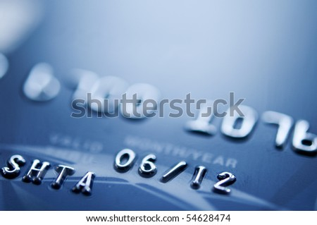 blue credit card closeup. selective focus.