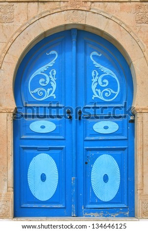 Blue door in Tunisia