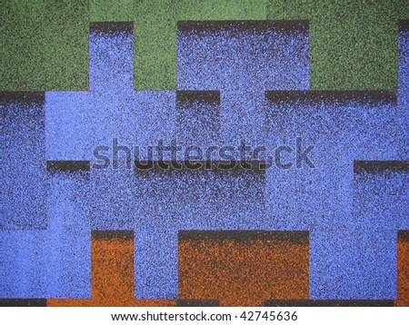 blue, green and orange roof