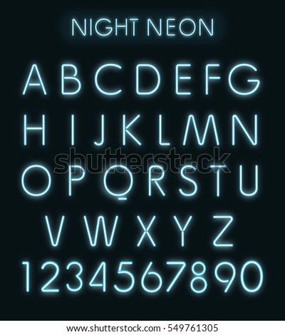 Blue light neon alphabet in dark