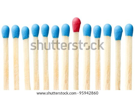 blue matches and one red match  on a white background