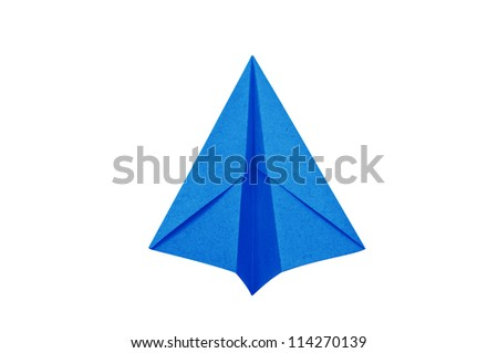 ?Blue Paper aircraft, Paper Plane on a white background,