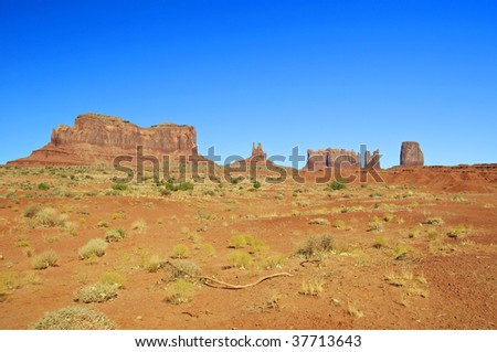 Blue skies over Monument Valley in Utah