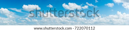 blue sky and White cloud nature: clear blue sky with plain white cloud with space for text background. The vast blue sky and clouds. blue sky background with tiny clouds nature. panorama