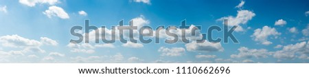 blue sky background with tiny clouds. panorama #1110662696
