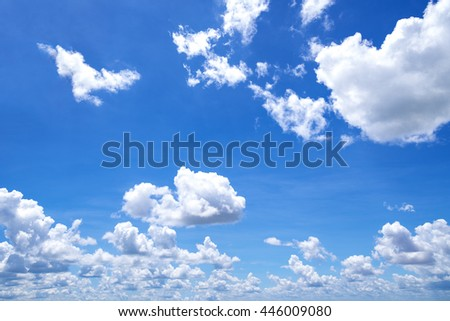 blue sky with cloud closeup,image of clear blue sky and white clouds on day time for background usage. - Shutterstock ID 446009080