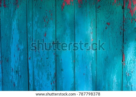 Blue Surface Of Vintage Wood Texture For BackgroundWood Plank Fence Close Up