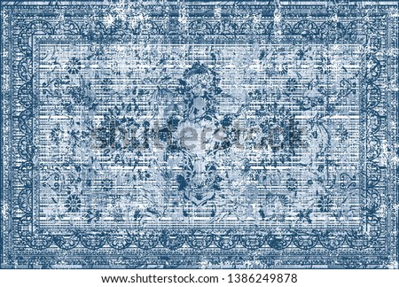 blue tones high resolution, classic traditional ottoman, islamic carpet pattern design with antique effected / modernized damask motifs on distressed texture background
