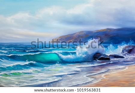 Blue, tropical sea and beach.Wave, illustration, oil painting on a canvas.