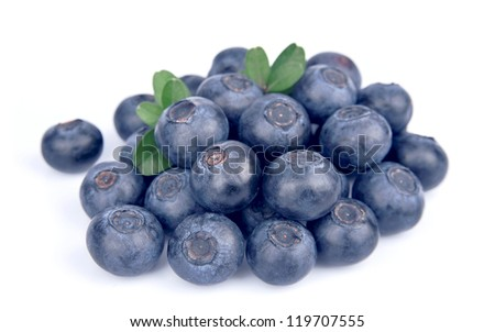 Blueberries on white close up