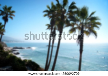 blurred background of beach scene with palm trees