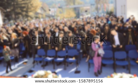 Blurred image top view , Crowd group the student graduation during commencement success graduates of the university, Concept education congratulation. Great day for students