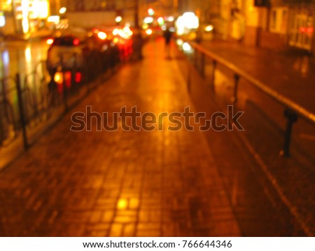 blurred wet surface, pavement, reflection of lights on the roadnight,  #766644346