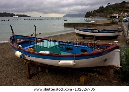 boat water house and coastline in porto venere italy