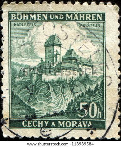 BOHEMIA AND MORAVIA - CIRCA 1939: A stmp printed in Bohemia and Moravia shows Karluv Tyn - Karlstein Castle,  circa 1939 - stock photo