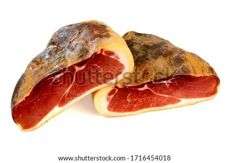 Boneless Serrano Ham on White Background Stock photo ©