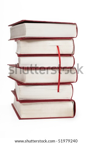 books and bookmark on white background