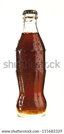 bottle of coca cola glass soda isolated on a white background