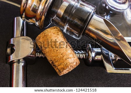 bottle with the corkscrew and wine accessories