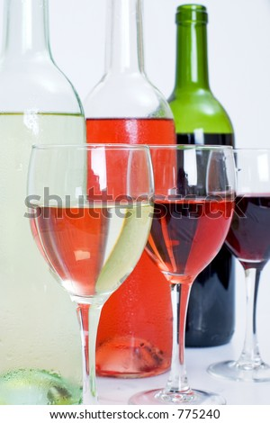3 bottles and 3 glasses of wine including white, rose and red all Isolated
