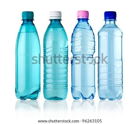4 bottles of water isolated on white background
