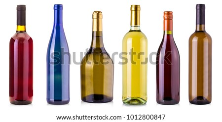 bottles of wine  isolated on white background #1012800847