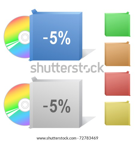-5%. Box with compact disc. Raster illustration. Vector version is in my portfolio. - stock photo