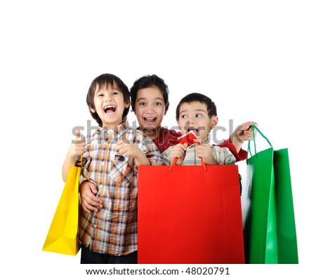Boy and girl with shopping bag Isolated.