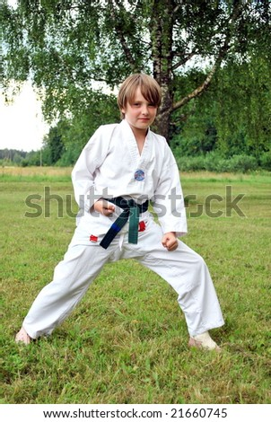 boy in taekwondo uniform on nature background