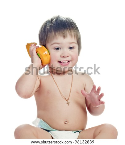 boy with telephone - stock photo