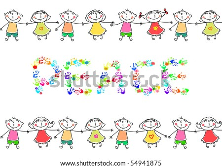 boys and  girls,  peace and  friendship - stock photo