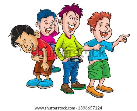4 Boys and laugh cartoons illustration