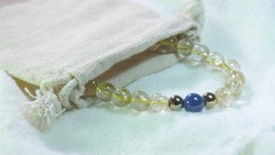 ฺBracelet gemstone beads of Golden Rutile Quartz , Kyanite and Pyrite.