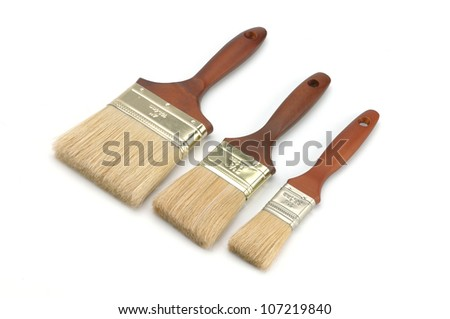 3 Brand new paint brush isolated on a white background