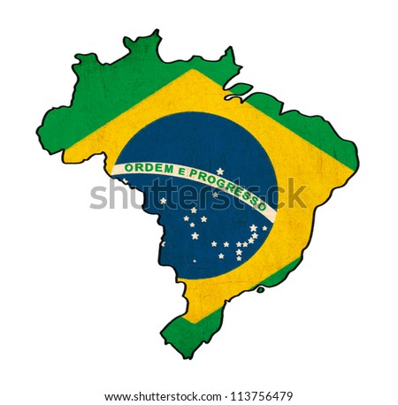 Brazil map on  Brazil flag drawing ,grunge and retro flag series - stock photo